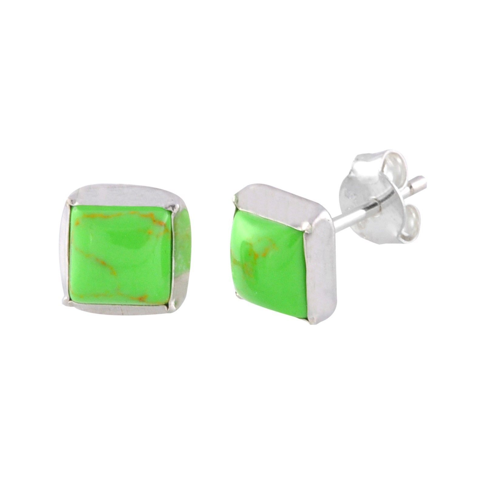 Peridot /& Diamond Stud Earrings .03 ct I-J I2 Sterling Silver Oval