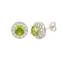 Peridot Gemstone Stud Earrings 925 Sterling Silver Round Gem CZ Accent - $35.19