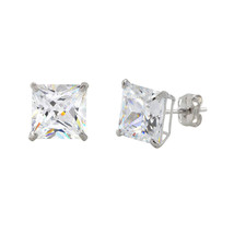 10k White Gold Square Stud Earrings Clear CZ Cubic Zirconia Princess Cut Basket - $14.39+