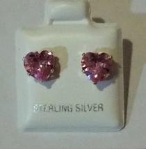 Sterling Silver Pink Heart CZ Cubic Zirconia Stud Earrings 4mm-8mm - $5.51+