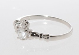 Sterling Silver Clear Cubic Zirconia Claddagh CZ Band Ring size 3 4 5 6 ... - £8.54 GBP