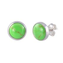 Sterling Silver Gemstone Earrings Gaspeite 9mm Round - $15.20