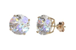 925 Sterling Silver Rose Gold Plated Round Cubic Zirconia CZ Stud Earrings - $9.87