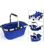 Foldable Shopping Picnic Basket with Handle Water-proof for Outdoor  4 C... - £15.90 GBP