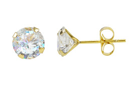 14k Yellow Gold Round CZ Cubic Zirconia Stud Earrings - $7.99+