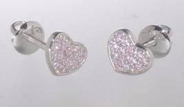 Sterling Silver Heart Stud Earrings Pink 6mm Cubic Zirconia Stones Screwbacks - $16.58