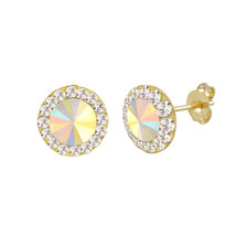 10k Yellow Gold Multicolor AB Prism Stud Earrings 8mm - $30.39