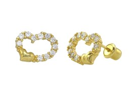 925 Sterling Silver Stud Earrings Cubic Zirconia Heart Yellow Gold Plated 8mm - $13.42