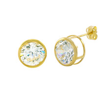 10k Yellow Gold Clear CZ Stud Earrings Round Bezel Set Top Attached Post - $21.59+