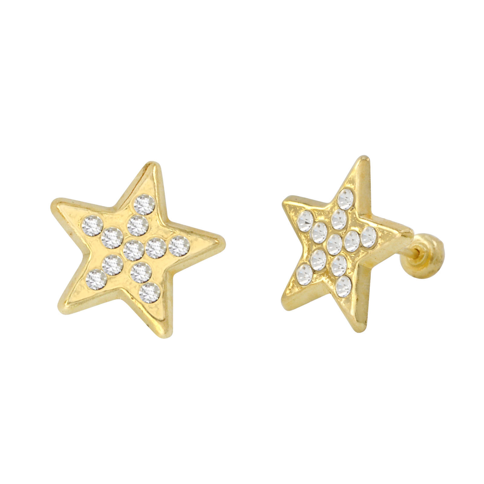 Star Stud Earrings 10k Yellow Gold Pave Cubic Zirconia with Screwbacks 10x10