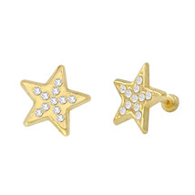 Star Stud Earrings 10k Yellow Gold Pave Cubic Zirconia with Screwbacks 1... - £19.05 GBP