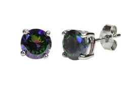 Mystic Topaz Stud Earrings 925 Sterling Silver CZ Cubic Zirconia Basket ... - $8.68+