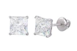 Clear Square Cz Basket Set Screwback Stud Earrings Sterling Silver 925 - $7.88+