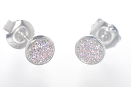 Sterling Silver Pink CZ Stud Earrings Pave Cubic Zirconia 6mm Circle - $11.05