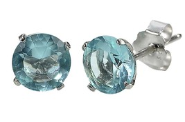 Aquamarine CZ March Birthstone Stud Earrings .925 Sterling Silver Round ... - $4.09+