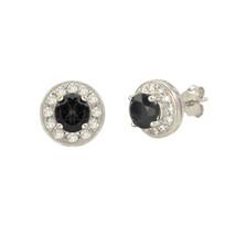 Onyx Gemstone Stud Earrings 925 Sterling Silver Round Gem CZ Accent - $29.59