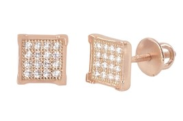 Sterling Silver Rose Gold Cubic Zirconia Stud Earrings Screwbacks 6mm CZ Square - $15.00