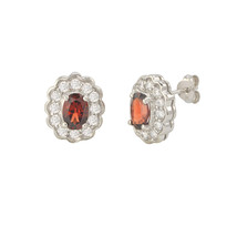 Garnet Gemstone Stud Earrings 925 Sterling Silver Fancy Oval CZ Accent - $31.99