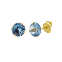 14k Yellow Gold Blue Aqua Cubic Zirconia Stud Earrings Round Birthstone CZ - $10.75+