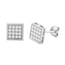 Sterling Silver Micropave Stud Earrings Square Clear CZ Cubic Zirconia 7... - $11.84