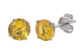 Citrine Stud Earrings November Birthstone CZ BASKET Set Zirconia Sterlin... - $4.09+