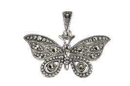 925 Sterling Silver Marcasite Butterfly Pendant 25mm - $19.99