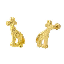 10k Yellow Gold Stud Earrings Giraffe with Screwbacks 13mm x 7mm - $23.13