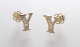 10k Yellow Gold Initial Stud Earrings Letter Y Cubic Zirconia 7mm - $39.98