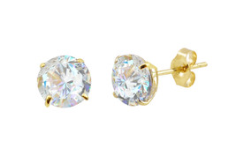 14k Yellow Gold Stud Earrings Clear Round Basket Cubic Zirconia Pushbacks - $10.49+