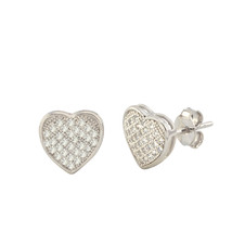 925 Sterling Silver Heart Stud Earrings Clear Micro Pave Cubic Zirconia CZ 9mm - $18.95