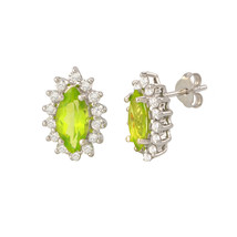 Peridot Gemstone Stud Earrings 925 Sterling Silver Elongated Oval - $39.99