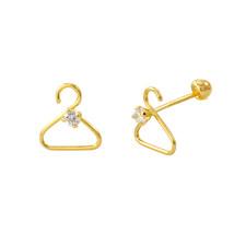Coat Hanger Earrings 10k Yellow Gold with Screwbacks 8x8 - $24.91