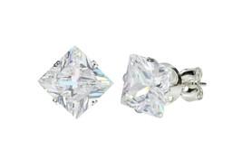 925 Sterling Silver Square Princess Cut Clear CZ Stud Earrings Prong Set - $75,18 MXN+