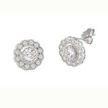 Flower Petal Stud Earrings Sterling Silver Pave White CZ Cubic Zirconia 10mm - $18.95