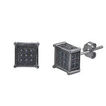 Sterling Silver Micropave Stud Earrings Black CZ Square 3d Sidestones 7m... - $17.37