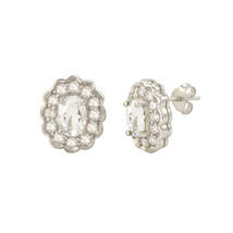 White Topaz Gemstone Stud Earrings 925 Sterling Silver Fancy Oval CZ Accent - $26.39