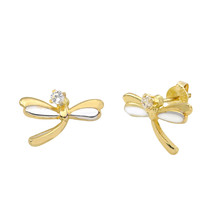 10k Gold Dragonfly Stud Earrings Two Tone Gold Yellow and White Pushback... - $24.79