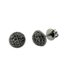 Sterling Silver Black Micropave Stud Earrings Screwbacks 7mm Dome - $13.42