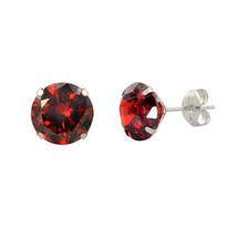 14k White Gold Garnet Red Cubic Zirconia Stud Earrings Round Birthstone CZ - $10.75+