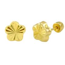 Flower Stud Earrings 10k Yellow Gold Laser Cut with Screwbacks 5mm - $24.02