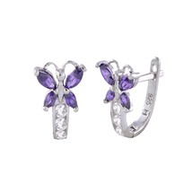 Sterling Silver Leverback Earrings Butterfly CZ Birthstone Colors - Two ... - $19.60