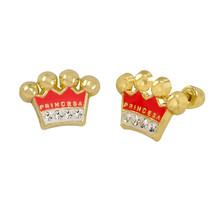 10k Yellow Gold Earrings Pink Princess Crown Studs with Screwbacks - $25.59
