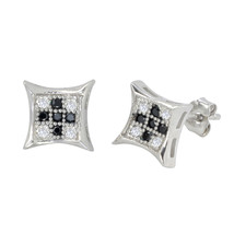Sterling Silver Micropave Stud Earrings Black and White Kite Shaped 8mm ... - $14.21