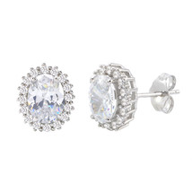Sterling Silver Halo Oval Cubic Zirconia Stud Earrings Micropave 11mm x ... - $22.11