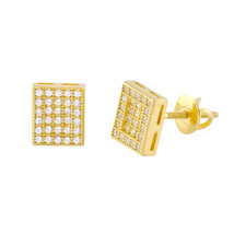 Yellow Gold Plated Sterling Silver Rectangle Screwback Stud Earrings 6mm x 8mm - $19.73