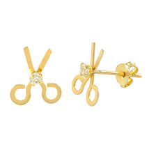 10k Yellow Gold Scissors Earrings with Pushbacks 7mm x 10mm - $26.39