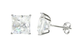 Sterling Silver Square Cubic Zirconia Stud Earrings AAA Clear CZ Basket Setting - $4.85+