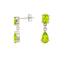 Peridot Gemstone Teardrop Dangle Earrings 925 Sterling Silver (3.02 cttw) - $39.99