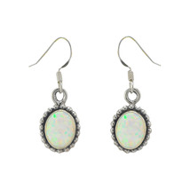Opal Gemstone Dangle Earrings Sterling Silver White Color Oval 32mm x 10mm - $25.59