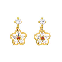 Sterling Silver Flower Dangle Earrings Ruby and White Cubic Zirconia Gol... - $22.90